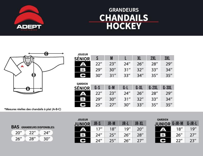 Charte de grandeur Chandails de hockey